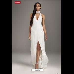 White VERA WANG Split Choker Neck Wedding Dress 6